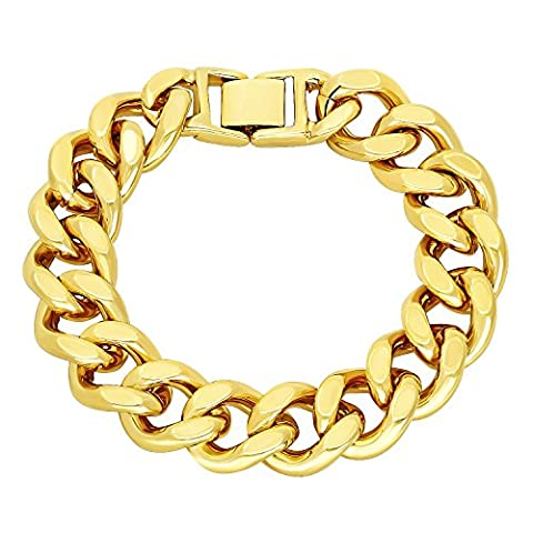 Large 15mm 14k Gold Plated Chunky Cuban Curb Link Chain Bracelet, 20 cm