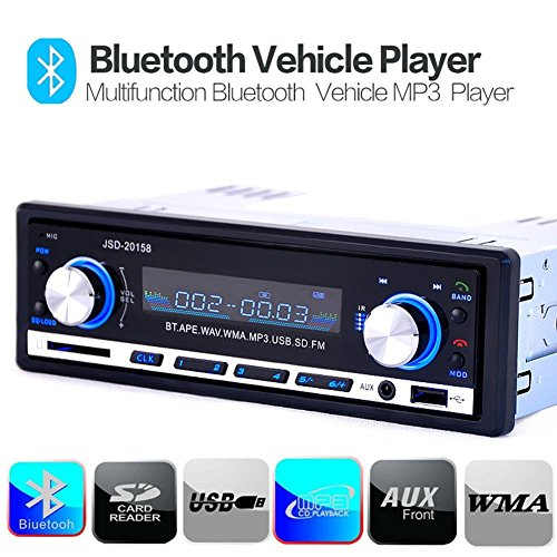 zetong Tech 1 DIN MP3 auto radio stereo USB Receiver con funzione Apple iPod/iPhone control (memoria Bluetooth, 4 x 60 Watt, USB, ingresso AUX, SD)