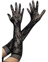 R-dessous paire de gants longs en dentelle pour femme stretch mariage