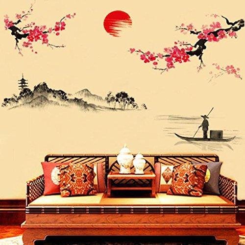 Chinesische Pfirsich (QHJ Aufkleber,Kreative Klassische chinesische Art Tinte, Die Dekorative Wand Aufkleber Pfirsich Malt Chinesischen Stil Tinte Pfirsich Wandaufkleber)