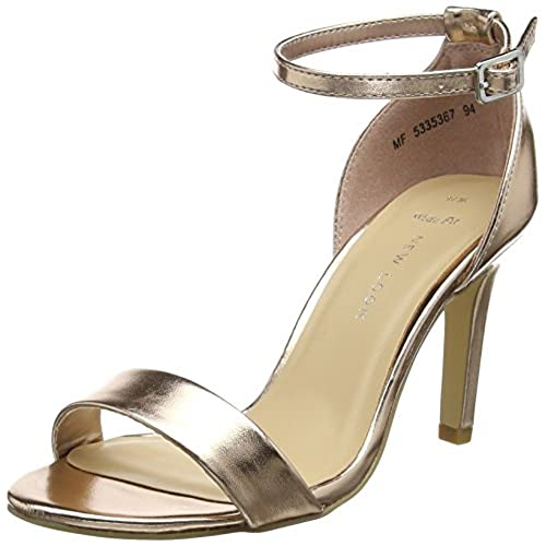 New Look Women's Sensatory Ankle Strap Heels, Gold (Rose Gold), 7 UK 40 EU