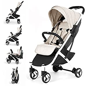 Allis Lightweight Baby Pram Pushchair Buggy Travel Stroller Plume - Beige Silver Cross NEWBORN TO TODDLER: Suitable from birth up to toddlers (25kg), sitting upright to watch the world, or reclining to a lie-flat position WATER AND WIND RESISTANT: Ideal for all weather conditions to keep your baby warm and protected from wind and rain LIGHTWEIGHT AND COMPACT: Quick and easy one-handed fold feature with a carry handle for ease positioned on the side of the matte black chassis 8