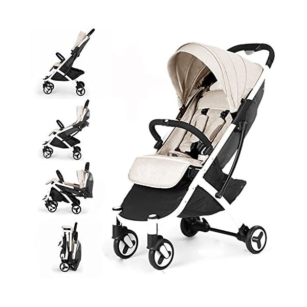 Allis Lightweight Baby Pram Pushchair Buggy Travel Stroller Plume - Beige  Made according to British Standard EN1888, Fabrick OKo-Tex standard 100 and Fire Safety Regulations 1988. Lockable 360 swivel wheels, removable and suspension Lightweight 5.8Kg only, Easy to fold with one hand only 1