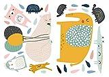 Wandtattoo Kinderzimmer Deko Pastell Set Baby Tiere mit Luftballons