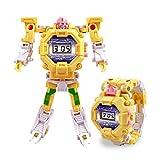 Konesky Guarda i Robot dei Bambini Orologio elettronico di deformazione per Bambini Cartoon Transformers Robot da Polso per Il Regalo del Giocattolo di Natale (Giallo)
