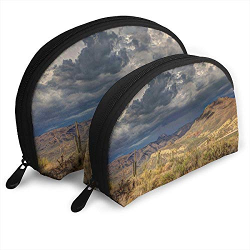 Arid Cactus Cloud Formation Dark Clouds Daylight Shell Portable Bags Clutch Pouch Cosmetic Makeup Bag Pouch 2Pcs Lsu Laser