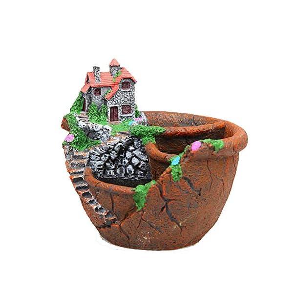 YAOHM Maceta de Plantas Creativas Decorada con Mini Jardín de Hadas y casa Dulce para Decoración de Vacaciones y Regalo,4