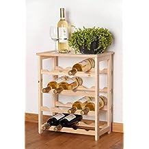 Weinständer Holz Weinregal 16 Flaschen Holzregal Flaschenregal Wein mit Deckplatte