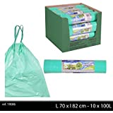 100 Sacs Poubelle 100 Litres Biodégradable Vert Avec Liens Coulissants - Sacs Poubelle 100 litres Grandes Capacités Biodégradable 100 pièces - L.70 x l.82 cm