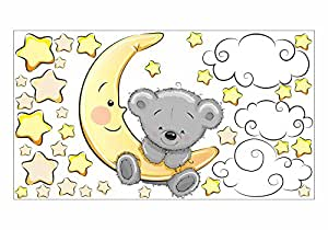 nikima - 064 Wandtattoo Teddy auf Mond Wolken Sterne - in 6 Größen - Kinderzimmer Sticker Babyzimmer Sternenhimmel Wandaufkleber niedliche Wandsticker süße Wanddeko Wandbild Junge Mädchen (750 x 420 mm)
