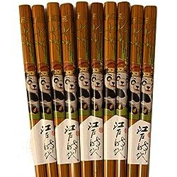 Bambú. Palillos Japan Style 5Pares Palillos Chinos con Motivos Panda