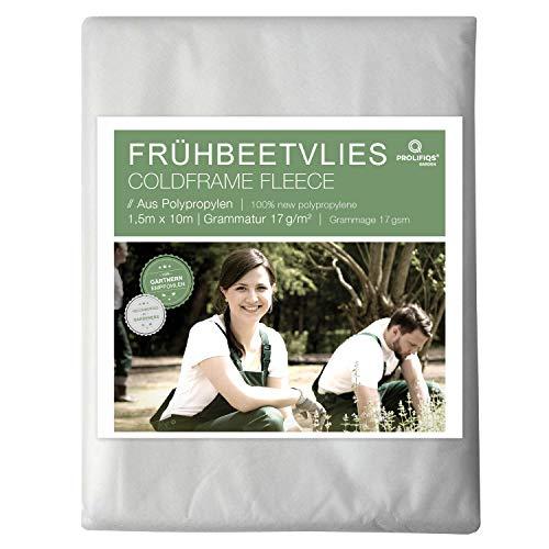 Prolifiqs Frühbeetvlies für Pflanzen 17g I Thermovlies/Garten/Hochbeet I Gartenvlies UV beständig und Wasserdurchlässig I Pflanzenschutz (1,5 * 10)
