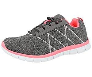Ladies Mesh Lace up Trainers Lightweight Casual Comfort Sports Gym Running Shoes Size 3-8 (UK 4/EU 37, Grey/Peach)