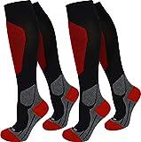 3 Paar normani Stützkniestrümpfe Kompressionsstrümpfe Farbe Sport/Rot Größe 35/38