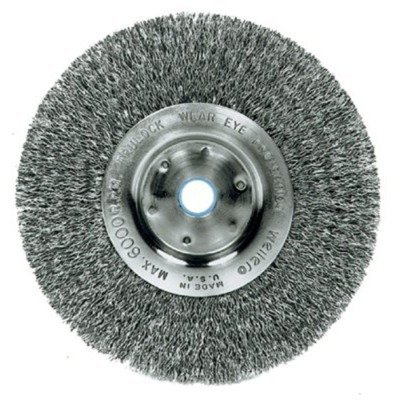 Weiler Trulock Narrow Face Wire Wheel Brush, Threaded Hole, Steel, Crimped Wire, 4 Diameter, 0.014 Wire Diameter, 5/8-11 Arbor, 7/8 Bristle Length, 1/2 Brush Face Width, 14000 rpm by Weiler -