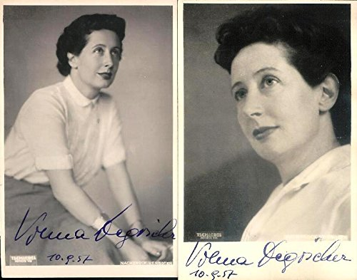 Vilma Degischer. 2 Poträtpostkarten Atelier Tschiedel Wien VII, datiert 10.9.1957.