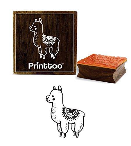 Printtoo Lama Tier Design Square Holz Stempel Schrott Buchung Block-2 x 2 Zoll