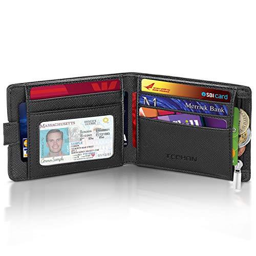 Geldbörse Herren mit RFID Schutz Premium Geldbeutel Männer mit Münzfach, 2 Banknotenfächern, 10 Kreditkartenschlitz, Portemonnaie Portmonaise Portmonee Herren Klein Geldtasche Brieftasche Slim Wallet