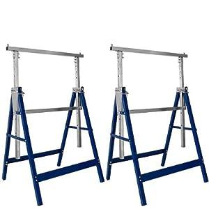 Deuba ® Set de 2x caballetes de trabajo | plegables | altura regulable | caballetes ajustables | 69x57x81cm | 7 alturas | Barra de ajuste galvanizado | Altura: 81-130 cm | 200kg por bloque |