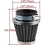 Beehive Filter 50mm Air Filter Cleaner for 50cc-110cc Motorcycle ATV Dirt Pit Bike Go Kart Oval Metallic Clamp-on Refit Intake Funnel Silver