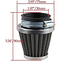 Beehive Filter 50mm Filtre à air pour 50cc-110cc Motorcycle ATV Dirt Pit Bike Go Kart Oval Metallic Clamp-on Refit Intake Funnel Silver