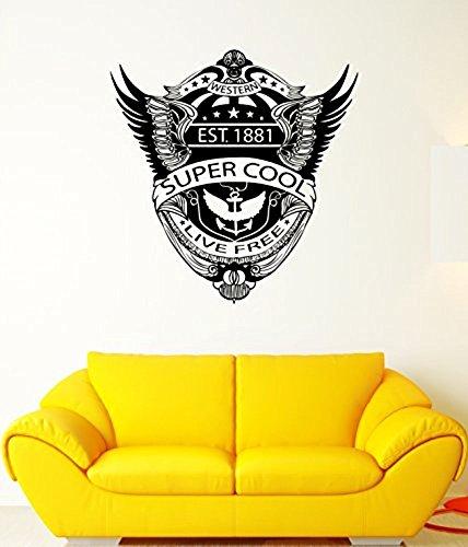 GGWW Wall Decal Western Eagle Wings Anchor America Flag Mural Vinyl Stickers (Ed054)