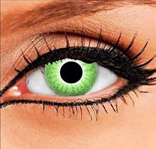 PHANTASY Eyes® Farbige grün Kontaktlinsen, Ohne Stärke (Grüne elfe) Dämonenaugen/Hulk/Lunatic, Jahres Linsen, 1 Paar crazy fun Contact linsen + Kontaktlinsenbelälter!