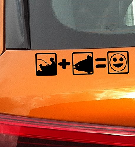 Angler Fisch Lächeln - Fliegenfischen Fly fishing Car Stickers Aufkleber Auto Wandaufkleber Wandsticker Wandtattoo (Aufkleber Fliegenfischen)
