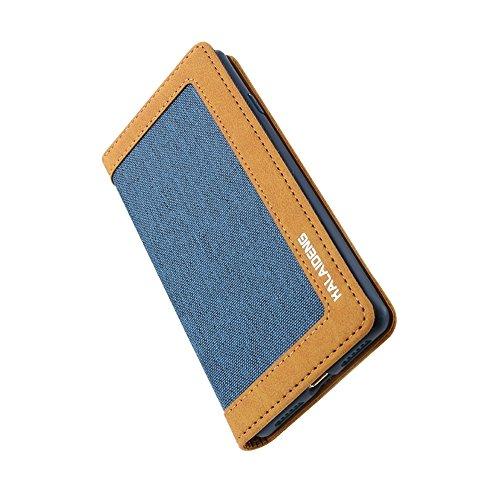 Mobiltelefonhülle - KALAIDENG FUNWEAR X Serie für iPhone 7 Leinen Leder + TPU Horizontale Flip Leder Tasche mit Card Slots & Halter & Lanyard ( Farbe : Grau ) Blau