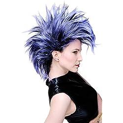 WIG ME UP ® - PW0078-1-P103PC10 Peluca Carnaval Punky en negro-azul bisoñe vampiro Punky glamoroso