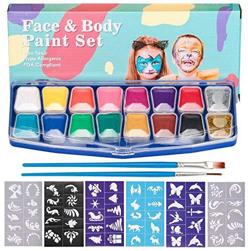 HENMI Kinderschminke Set Face Paint -14 Farben Schminkpalette,2 Glitzer,60 Schablonen,2 Berufs...