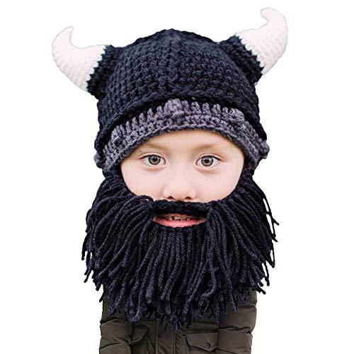 Beard Head Kinder Wikingerhelm Bartmütze – Lustige Strickmütze und falscher Bart für Kinder