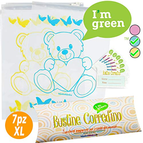 7 Bolsas para el canastilla del bebé - Bolsas, Sobres Hospital transparentes cierre con Gradual hermética, para nacimiento, Idea regalo 5 Azul + 2 amarillo