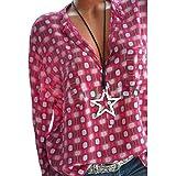 Longra Damen Bluse Damen Hemd Damenblusen Hemdbluse Geometrie Druck Tunika Bluse im Frauen V-Ausschnitt Blusenshirt Frühling und Herbst Langarmshirt Schöne Oberteile Tops T-Shirt (S, Rot)