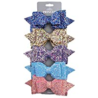 Hair Clips 5 Inch Glitter Hair Bows-5pcs Multi Color Glitter Sequins Big Hair Bows For Women Baby Girls Teens Toddlers