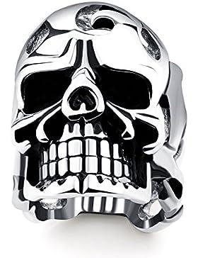 OBSEDE Herren Punk Kunst Edelstahl Ringe Vintage Skull Finger Ringe