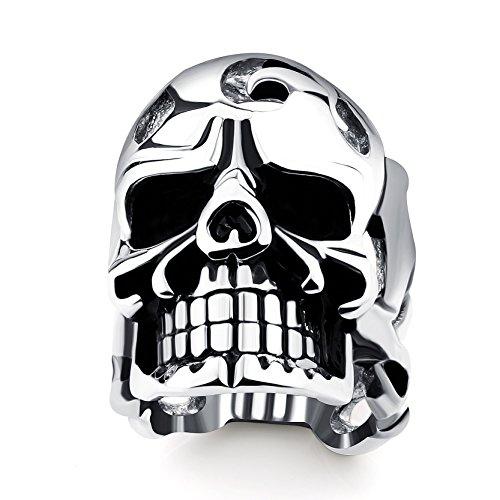 Herren Edelstahl Ringe Schädel Kopf für Jungen Geburtstag Geschenke Titan Skeleton Ringe (Sydney Billig Kostüme)