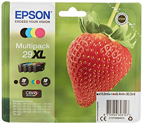 Epson 29XL Claria Home Strawberry Cartouches d'encre d'origine Multi-pack Noir/Cyan/Magenta/Jaune Amazon Dash Replenishment est prêt