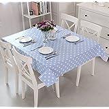 Vinylla lunares azul fácil de limpiar PVC mantel de hule, 140x240cm