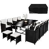 TecTake Conjunto muebles de jardín en ratán sintético comedor juego 8+4+1 + funda completa   tornillos de acero inoxidable   negro