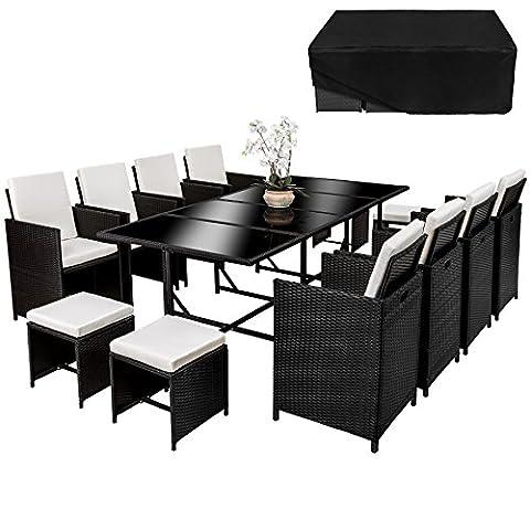 TecTake Poly Rattan 8+4+1 Sitzgruppe 8 Stühle 4 Hocker 1 Tisch + Schutzhülle & Edelstahlschrauben schwarz