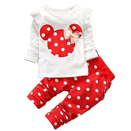 YiZYiF Baby Set-Kleinkind Kinder Mädchen Bekleidungsset Langarm Shirt Pullover + Pants Leggings Outfits Kleider Rot 92 (Herstellergröße 100) -
