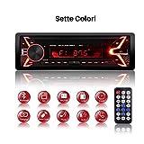Autoradio Bluetooth Ricevitore, QINFOX Lettore MP3 Auto, Universal Autoradio MP3 Stereo 7 Colori LCD Autoradio Lettore con Bluetooth/USB/EQ/SD/AUX/FM con Controllo Remoto