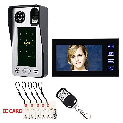 YA 7 Zoll Fingerabdruck IC-Karte Video-Türsprechanlage Intercom Türklingel mit Tür Access Control System Nachtsicht Sicherheit CCTV-Kamera Home Surveillance Cctv, Access Control