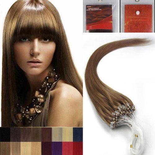 40.6cm Lisse Boucles Micro Anneau Perles Pointu Cheveux Humains Extensions 100 s 12 Marron Clair Femmes beauté Hairsalon Style Motif 0,4 g/s