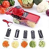 Mandolina de cocina - 5 en 1Cortador de Verduras Vegetable Slicer Multi, rallador mandolina profesional para el corte Utensilios de Cocina Profesional para Cortar Frutas / Verduras (Rojo)