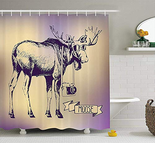 prz0vprz0v Moose Shower Curtain Set, Hipster Deer with Shades Sunglasses and Camera Vintage Ombre Design Funny Animal Art, Fabric Bathroom Decor with Hooks, 72W x 79L Inch Bath Curtains, Purple Beige