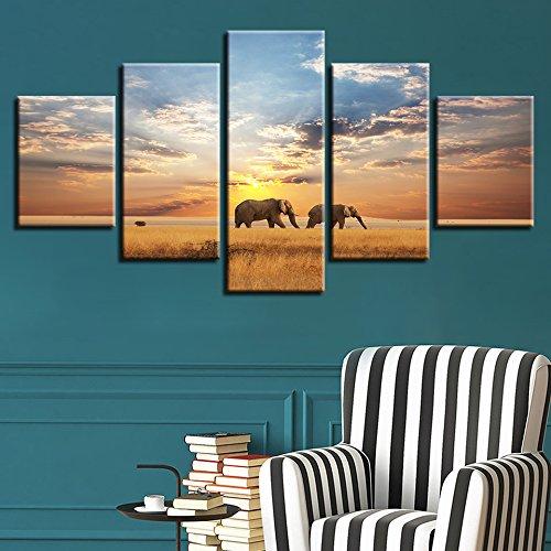 CNCN Imágenes de Lienzo Modular Home Wall Art5 Piezas Elefantes Naturaleza Paisaje...