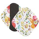 Tefamore Waschbare Blumen Print Slipeinlagen,Wiederverwendbare Bambus Stoff Waschbar Menstruation Pad Mama Sanitär Handtuch für Light Harnabgang/ Hygienische Binden /Light Menstruation (S, J)