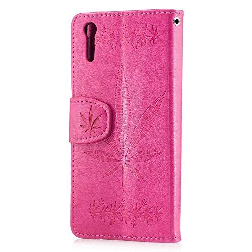 Pour Sony Xperia XZ Case Cover, Premium Soft TPU / PU en cuir gravé en érable Pattern Wallet Case avec Holder & Cash Card Slots & Lanyard ( Color : Rose ) Rose